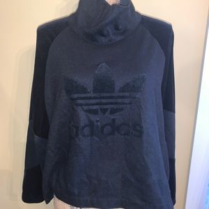Adidas pullover hoodie Wool and velour RARE black